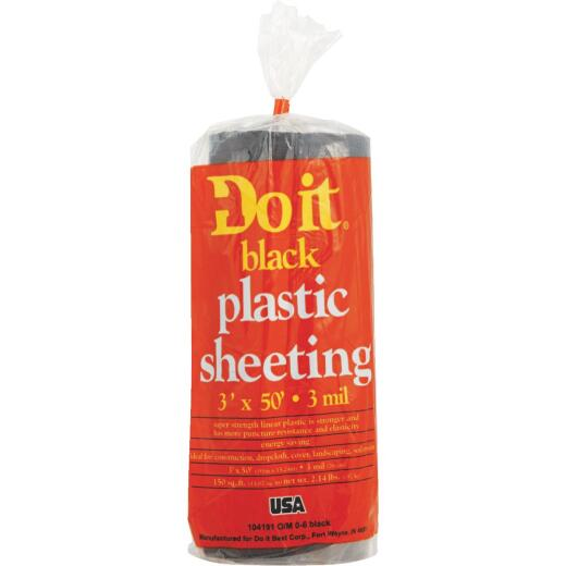 Do it 3 Ft. X 50 Ft. Black 3 Mil. Poly Film Sheeting