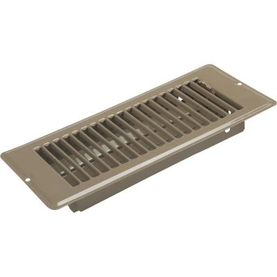 United States Hardware 4 In. x 10 In. x 1-5/16 In. Brown Steel Floor Register