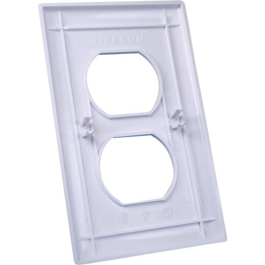 United States Hardware 1-Gang Duplex Outlet Wall Plate, White