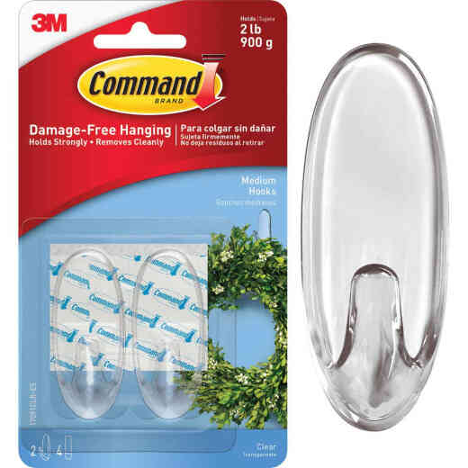 3M Command Clear Adhesive Hook (2 Pack)