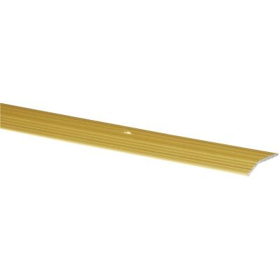 M-D Satin Brass Fluted 1-3/8 In. x 3 Ft. Aluminum Carpet Trim Bar, Wide