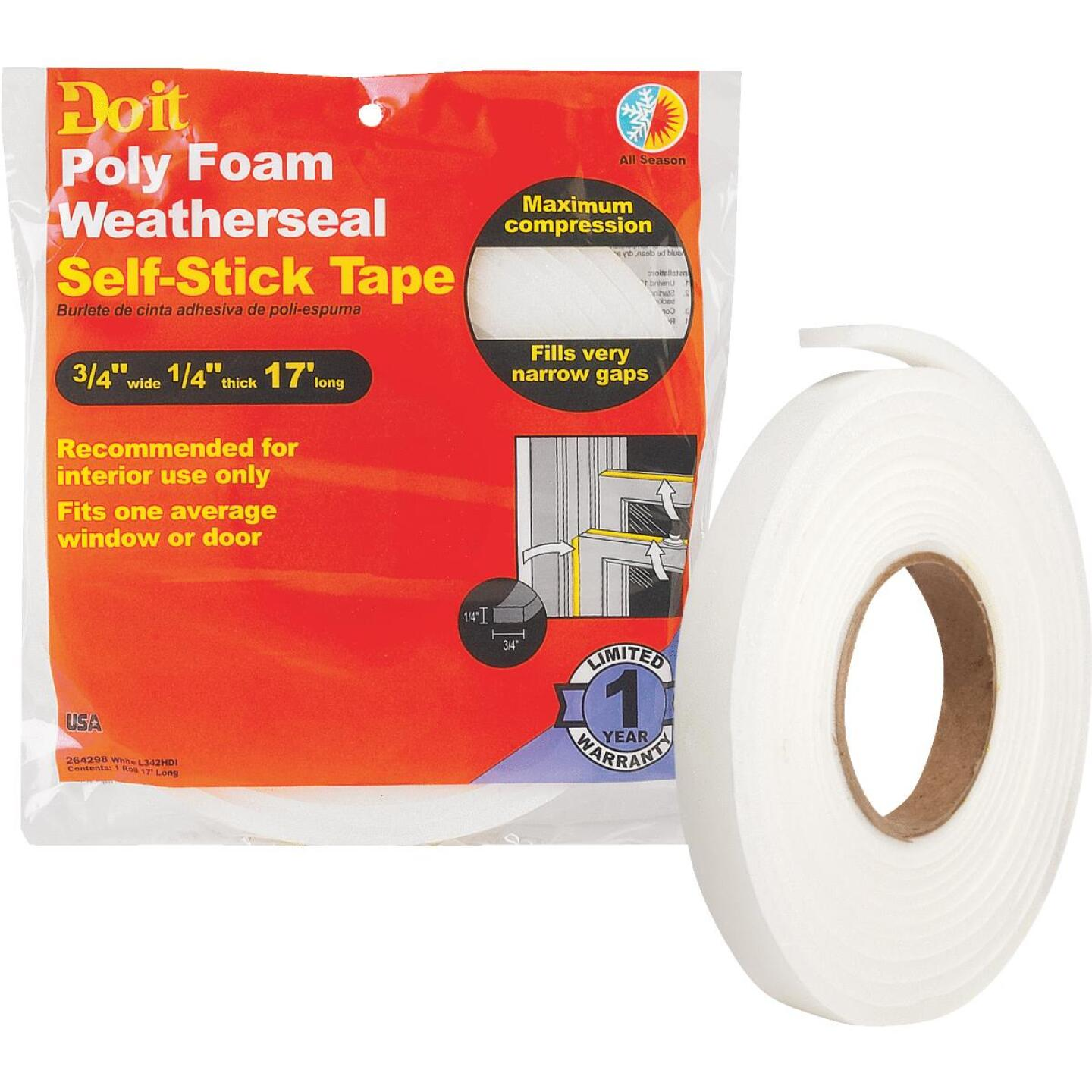 "Do it 3/4"" W x 1/4"" T x 17' L White Foam Weatherstrip Tape Image 1"