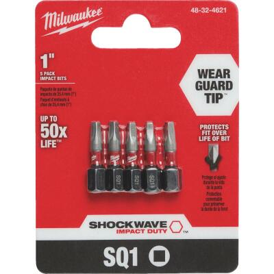 Milwaukee Shockwave #1 Square Recess 1 In. Insert Impact Screwdriver Bit (5-Pack)