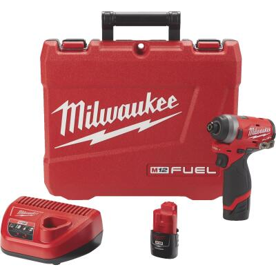 Milwaukee M12 FUEL 12-Volt Lithium-Ion Brushless 1/4 In. Hex Cordless Impact Driver Kit