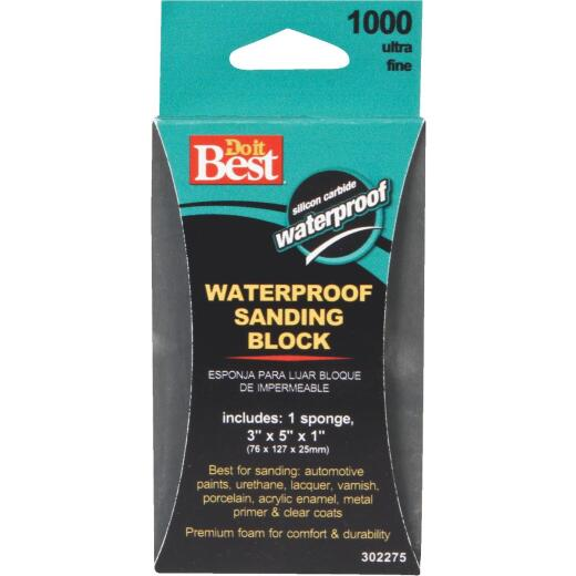Do it Best Waterproof 3 In. x 5 In. x 1 In. 1000 Grit Ultra Fine Sanding Sponge