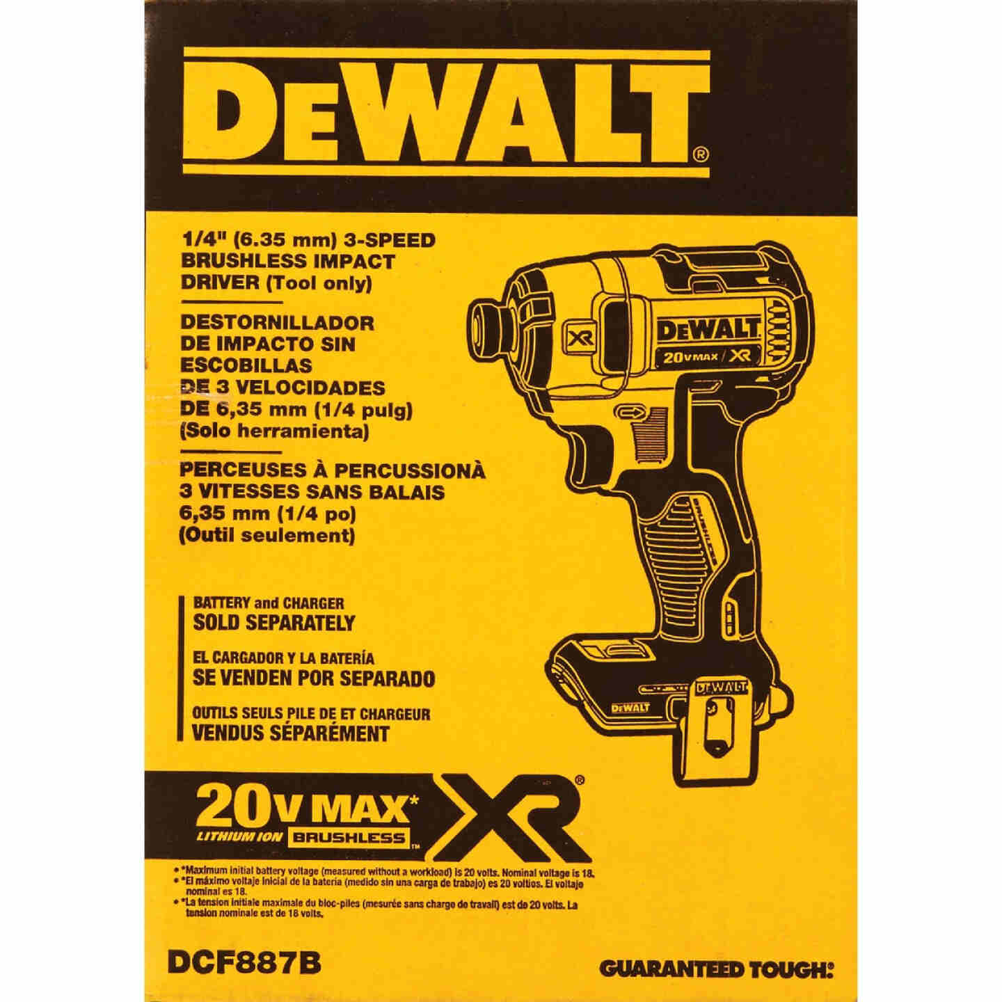 DeWalt 20 Volt MAX XR Lithium-Ion Brushless 1/4 In. Hex Cordless Impact Driver (Bare Tool) Image 2