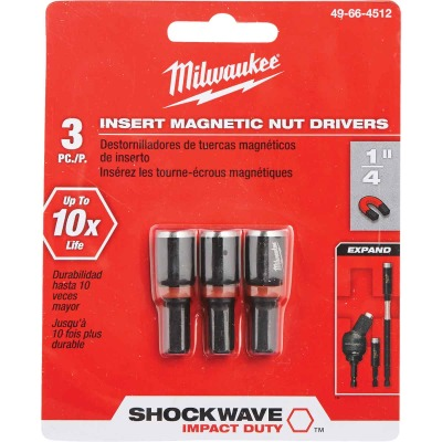 Milwaukee 1/4 In. x 1-1/2 In. Insert Impact Nutdriver, (3-Pack)