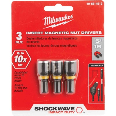 Milwaukee 5/16 In. x 1-1/2 In. Insert Impact Nutdriver, (3-Pack)