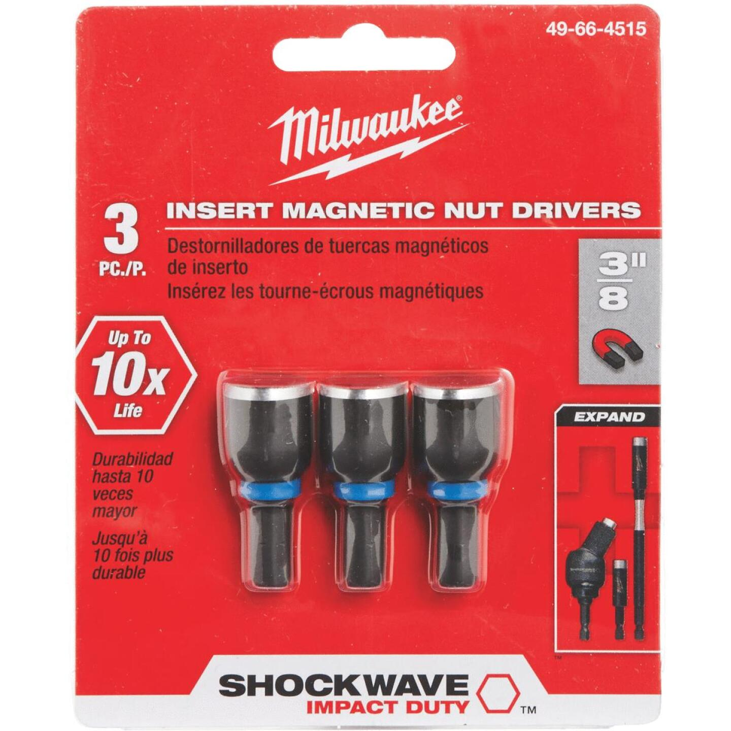 Milwaukee 3/8 In. x 1-1/2 In. Insert Impact Nutdriver, (3-Pack) Image 1