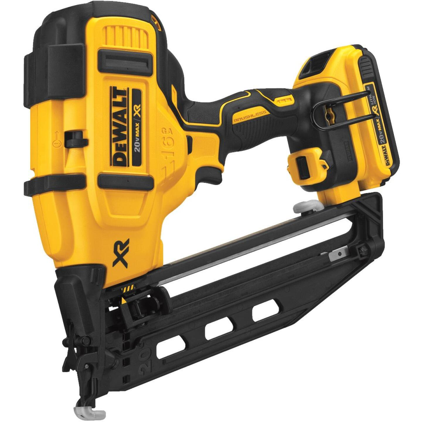 DeWalt 20 Volt MAX XR Lithium-Ion 16-Gauge 2-1/2 In. Angled Cordless Finish Nailer Kit Image 3