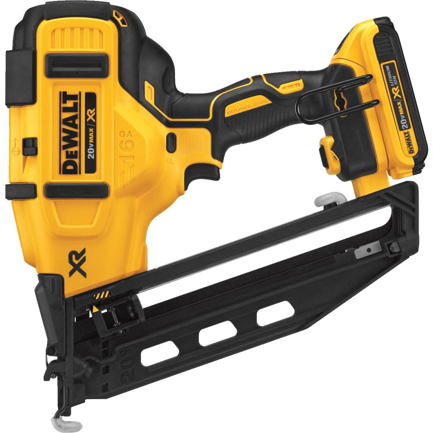 DeWalt 20 Volt MAX XR Lithium-Ion 16-Gauge 2-1/2 In. Angled Cordless Finish Nailer Kit Image 4