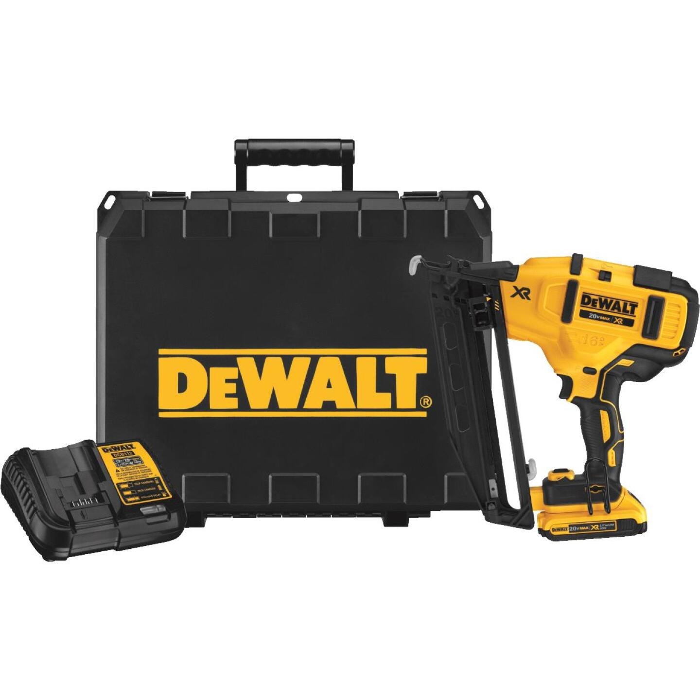 DeWalt 20 Volt MAX XR Lithium-Ion 16-Gauge 2-1/2 In. Angled Cordless Finish Nailer Kit Image 1