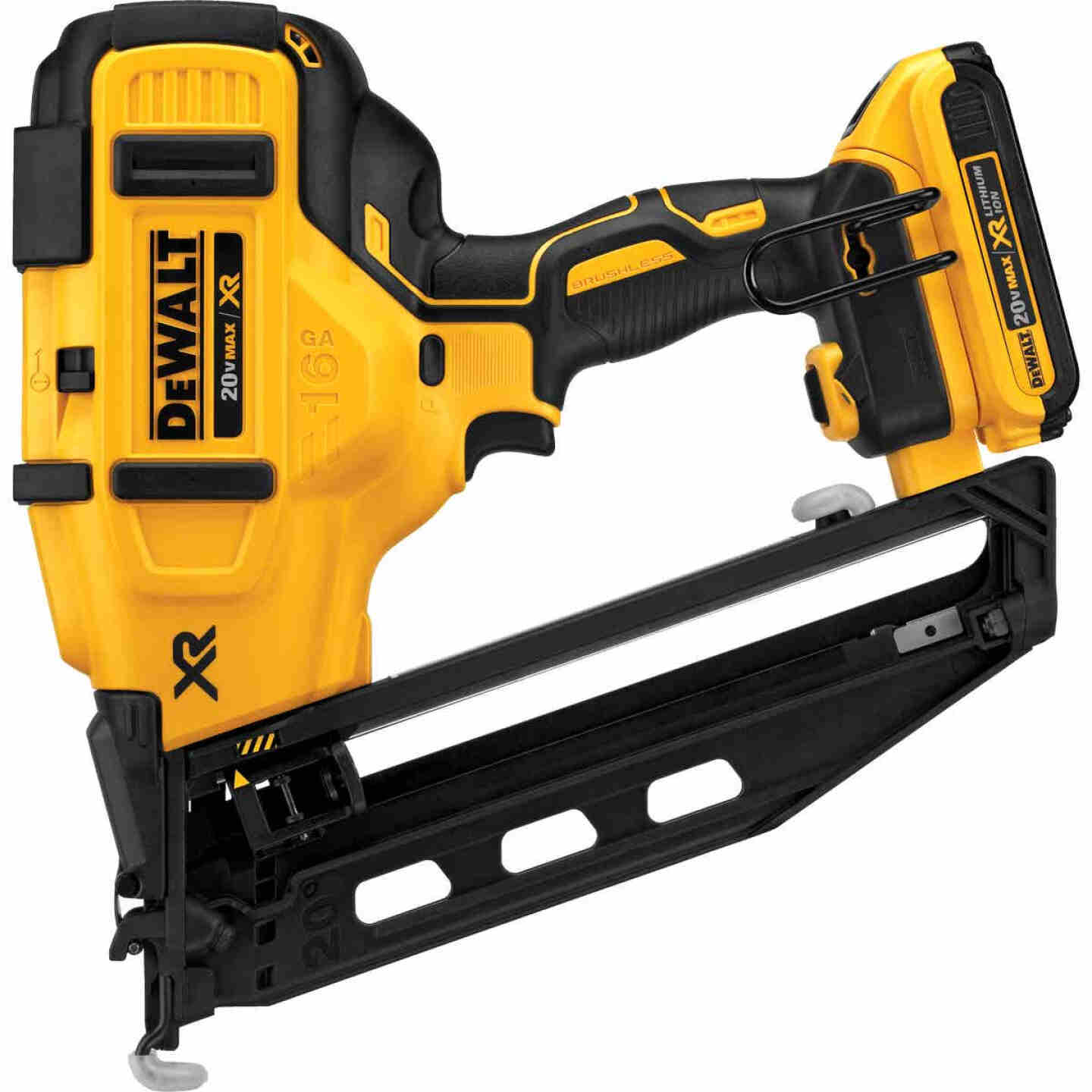 DeWalt 20 Volt MAX XR Lithium-Ion 16-Gauge 2-1/2 In. Angled Cordless Finish Nailer Kit Image 7