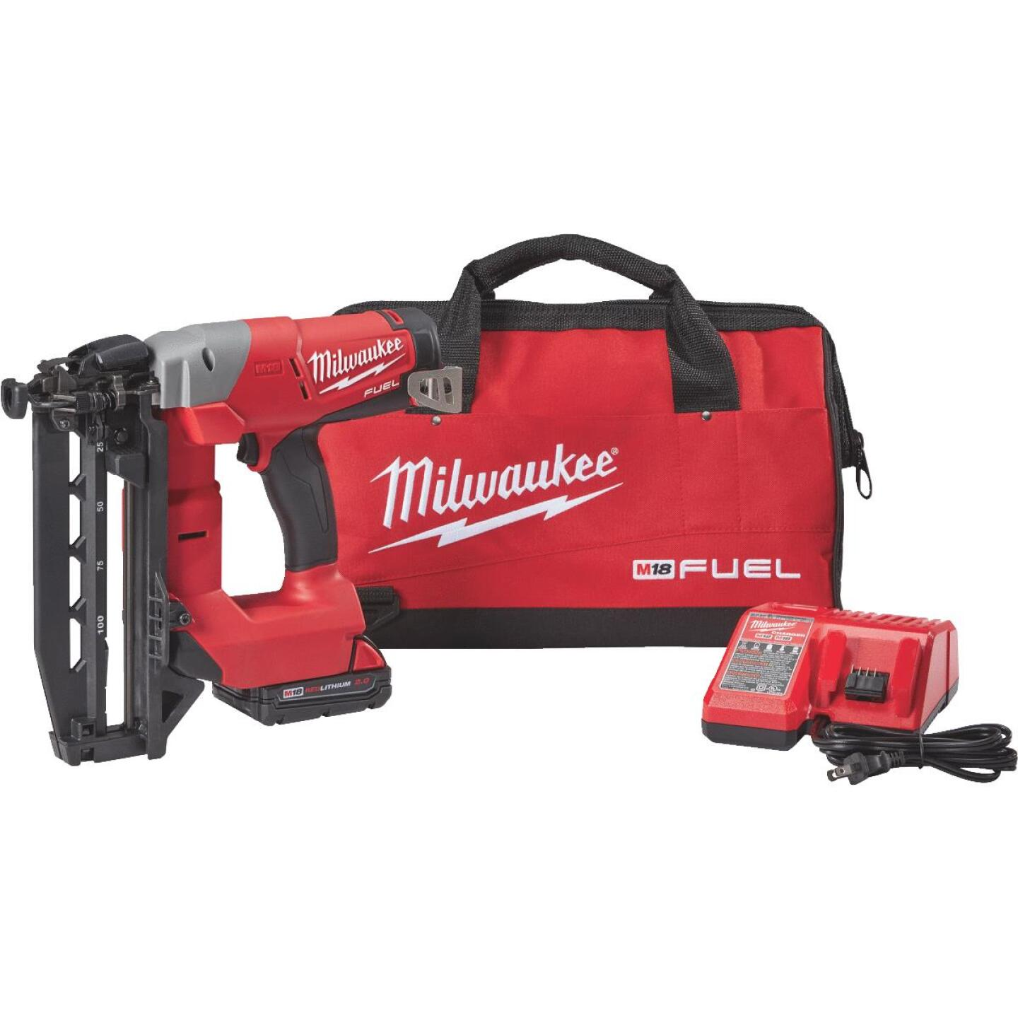 Milwaukee M18 FUEL 18-Volt Lithium-Ion Brushless 16-Gauge 2-1/2 In. Straight Cordless Finish Nailer Kit Image 1