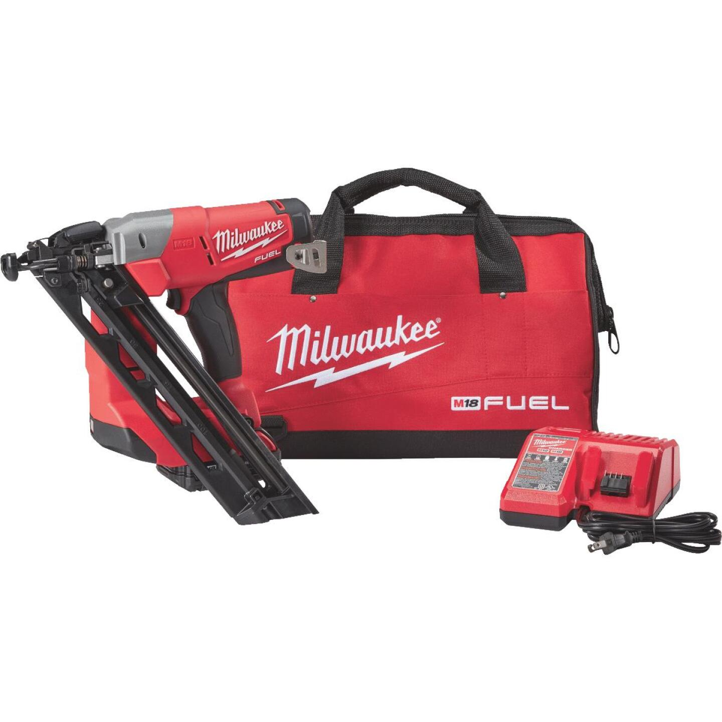 Milwaukee M18 FUEL 18-Volt Lithium-Ion Brushless 15-Gauge 2-1/2 In. Angled Cordless Finish Nailer Kit Image 1
