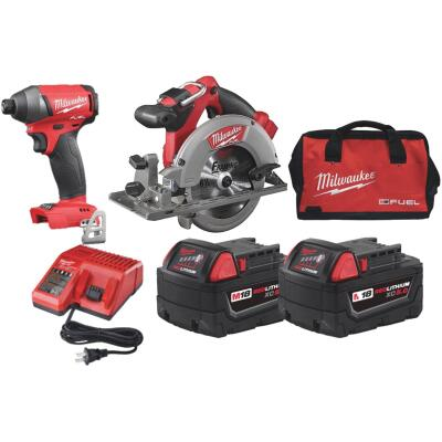 Milwaukee 2-Tool M18 FUEL Lithium-Ion Brushless Circular Saw & Impact Driver Cordless Tool Combo Kit