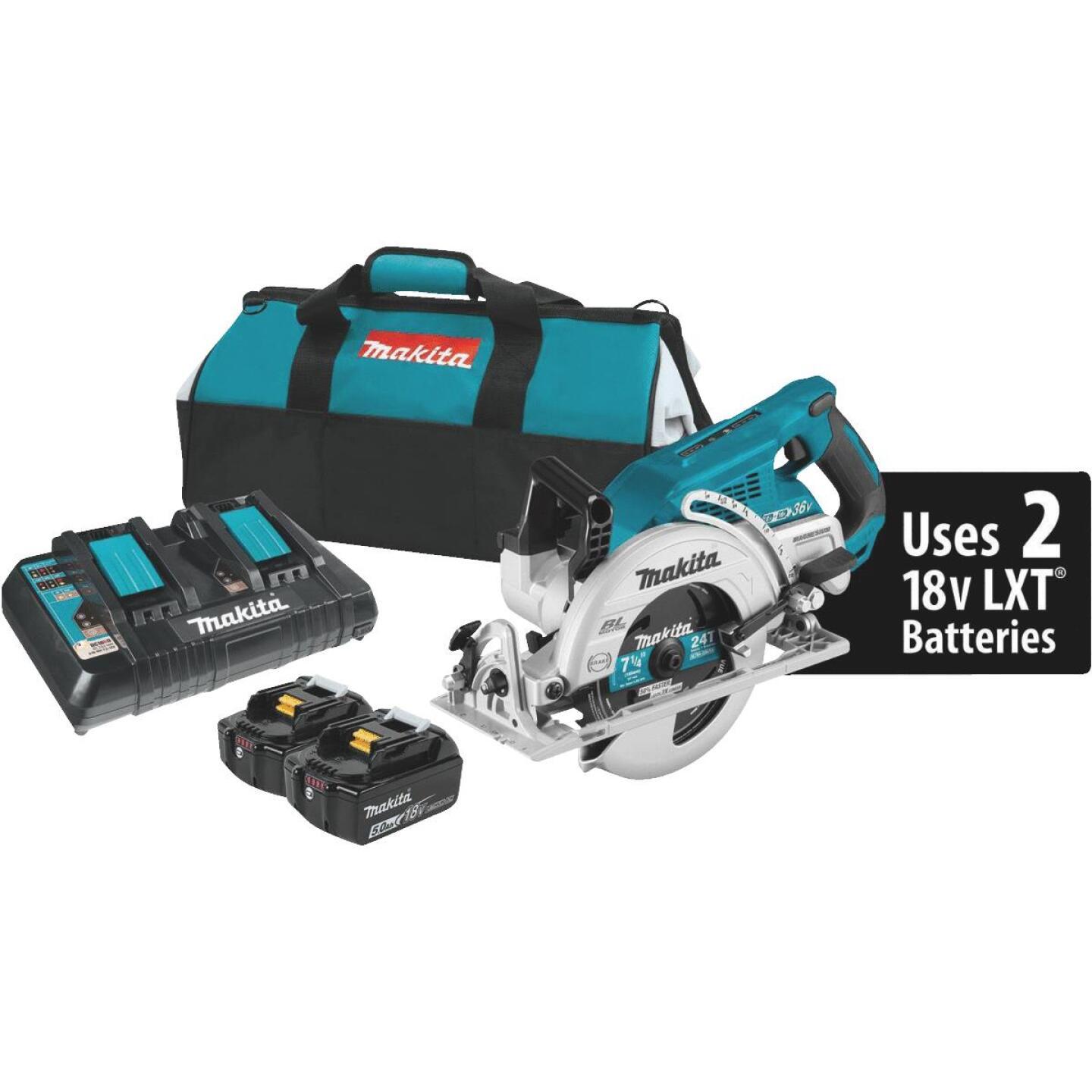 Makita 18 Volt LXT X2 Lithium-Ion Brushless 7-1/4 In. Rear Handle Cordless Circular Saw Kit Image 1