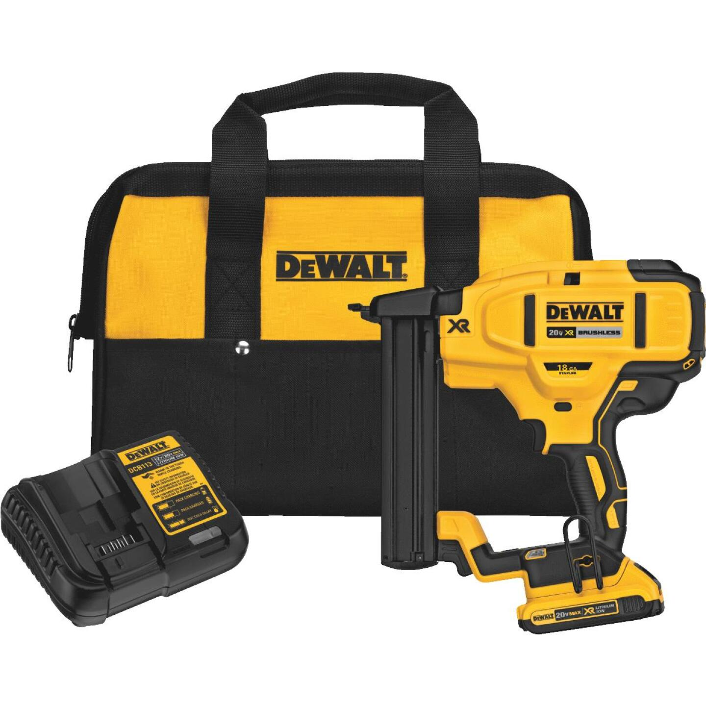 DeWalt 20 Volt MAX XR Lithium-Ion Brushless 18-Gauge 1/4 In. Crown Cordless Finish Stapler Kit Image 1