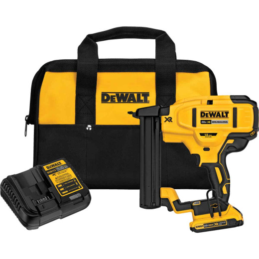 DeWalt 20 Volt MAX XR Lithium-Ion Brushless 18-Gauge 1/4 In. Crown Cordless Finish Stapler Kit
