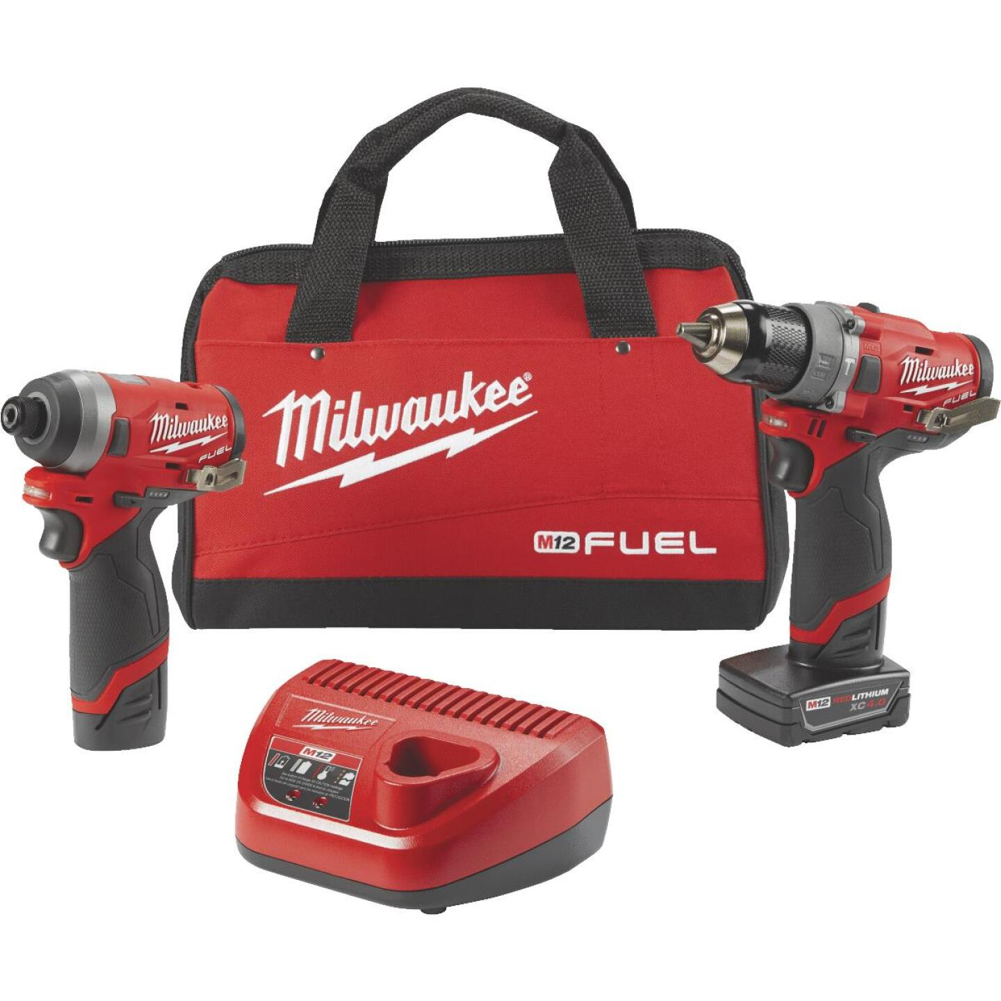 Milwaukee 2-Tool M12 FUEL 12V Lithium-Ion Brushless Hammer Drill & Impact Driver Cordless Tool Combo Kit Image 1