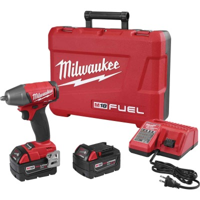 Milwaukee M18 FUEL 18 Volt Lithium-Ion Brushless 3/8 In. Compact Cordless Impact Wrench with Friction Ring Kit