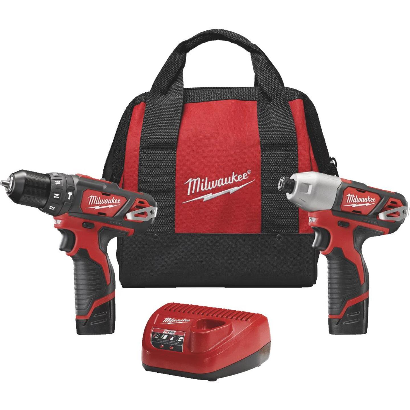 Milwaukee 2-Tool M12 12V Lithium-Ion Hammer Drill & Impact Driver Cordless Tool Combo Kit Image 1