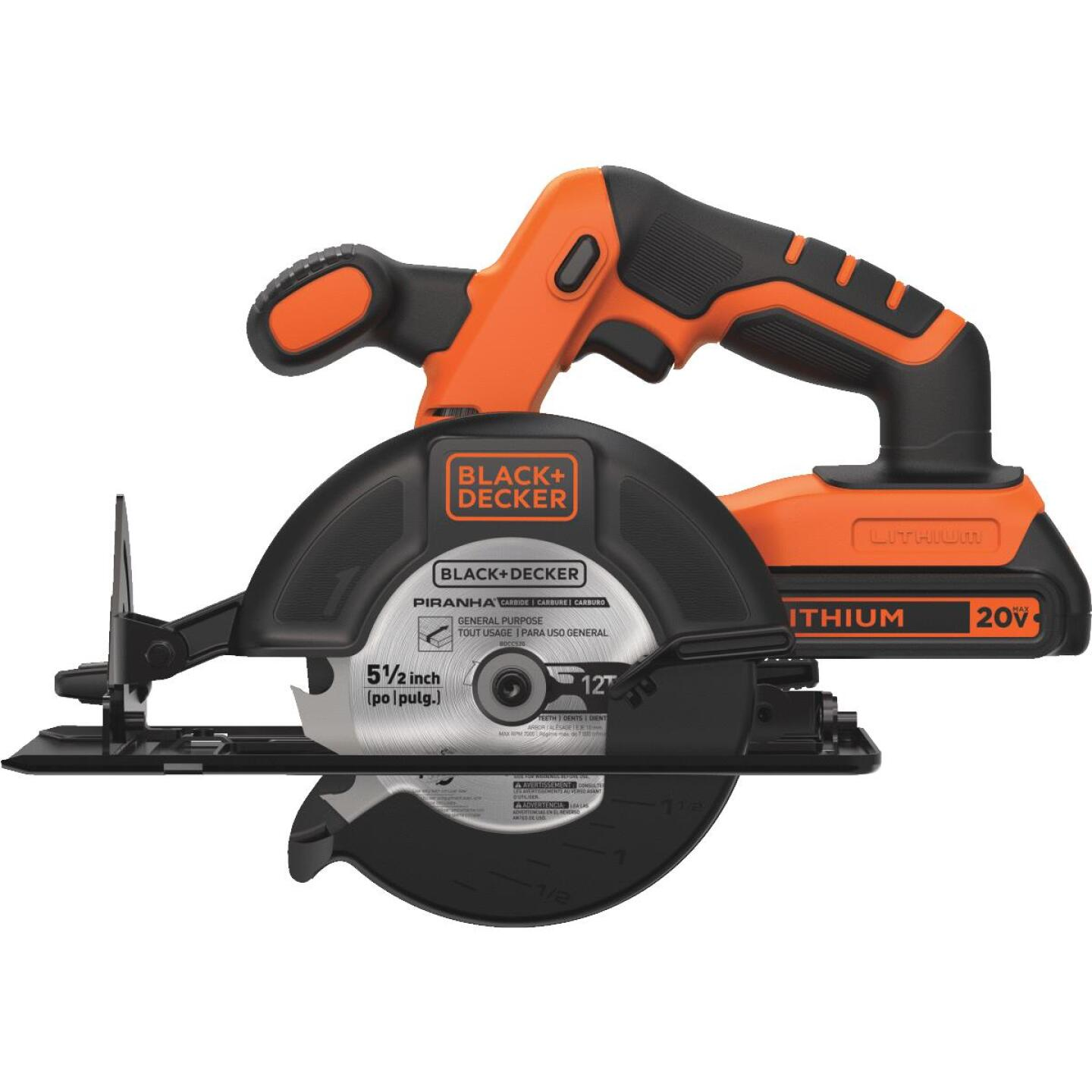 Black & Decker 20 Volt MAX Lithium-Ion 5-1/2 In. Cordless Circular Saw Kit Image 4