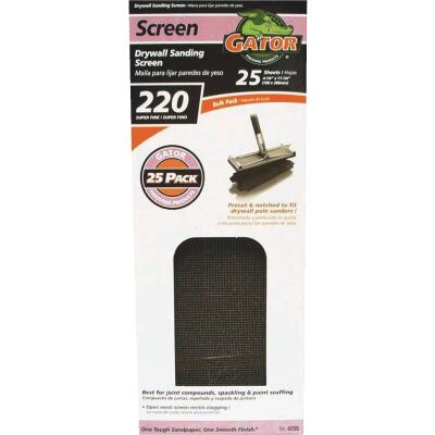 Gator Grit 220 Grit 4-3/8 In. x 11 In. Precut Drywall Sanding Screen (25-Pack)