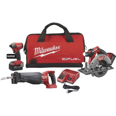 Milwaukee 3-Tool M18 FUEL Lithium-Ion Brushless Impact Driver, Sawzall & Circular Saw Cordless Tool Combo Kit