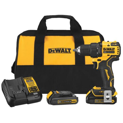 DeWalt Atomic 20 Volt MAX Lithium-Ion 1/2 In. Brushless Cordless Drill/Driver Kit