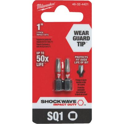 Milwaukee Shockwave #1 Square Recess 1 In. Insert Impact Screwdriver Bit (2-Pack)