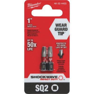 Milwaukee Shockwave #2 Square Recess 1 In. Insert Impact Screwdriver Bit (2-Pack)