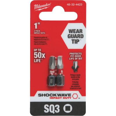 Milwaukee Shockwave #3 Square Recess 1 In. Insert Impact Screwdriver Bit (2-Pack)