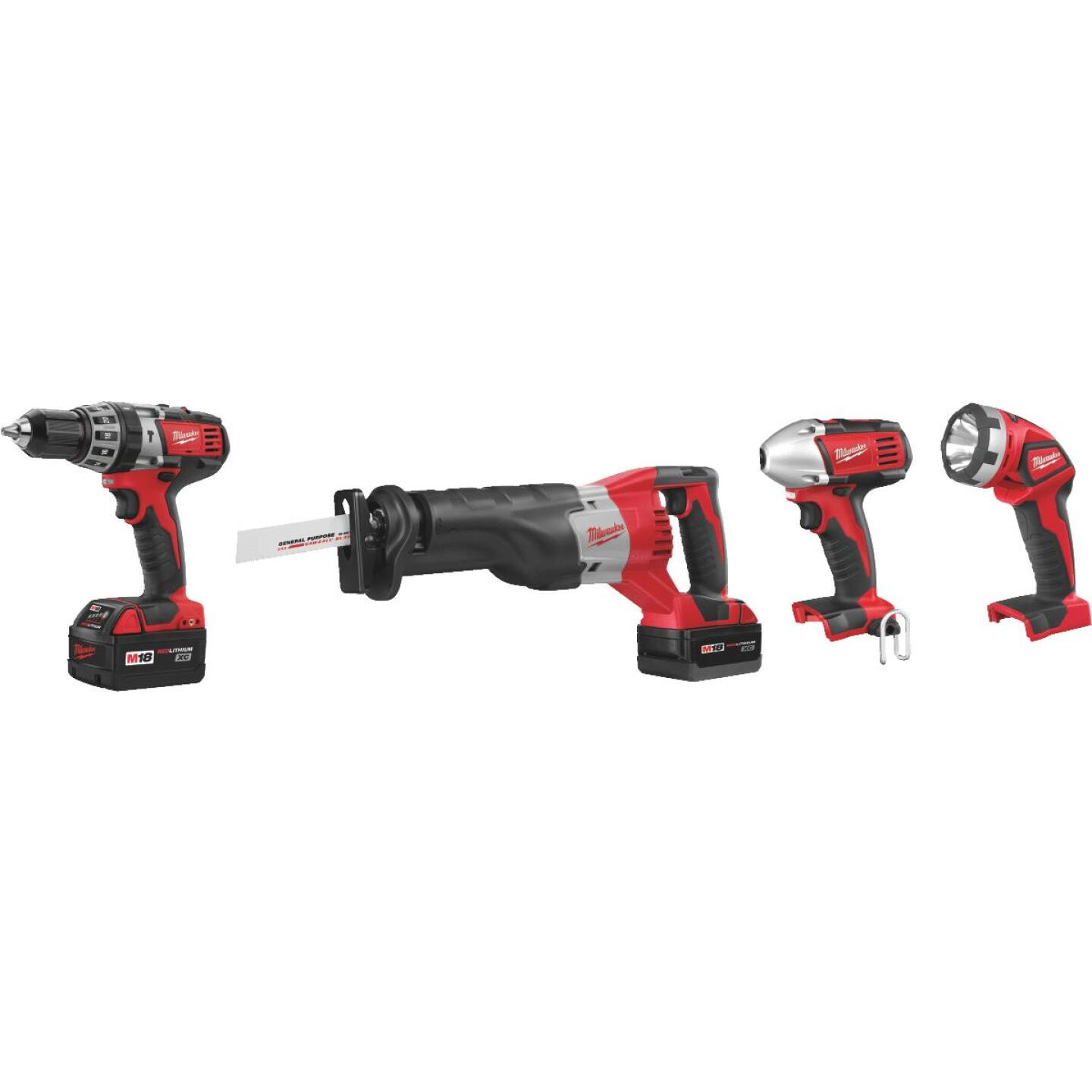 Milwaukee 4-Tool M18 Lithium-Ion Hammer Drill, Reciprocating Saw, Impact Driver & Work Light Cordless Tool Combo Kit Image 2