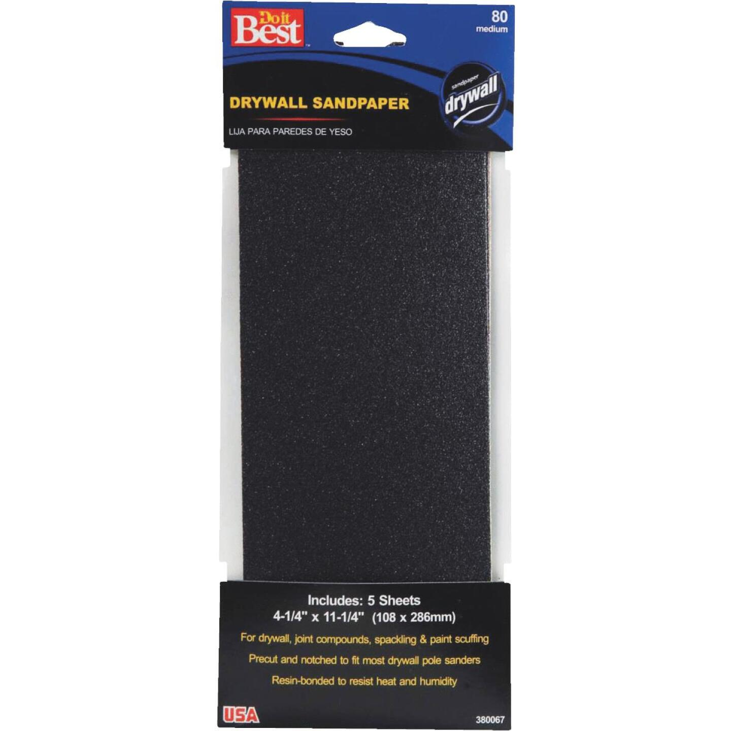 Do it Best 80 Grit 4-1/4 In. x 11-1/4 In. Drywall Sandpaper (5-Pack) Image 1