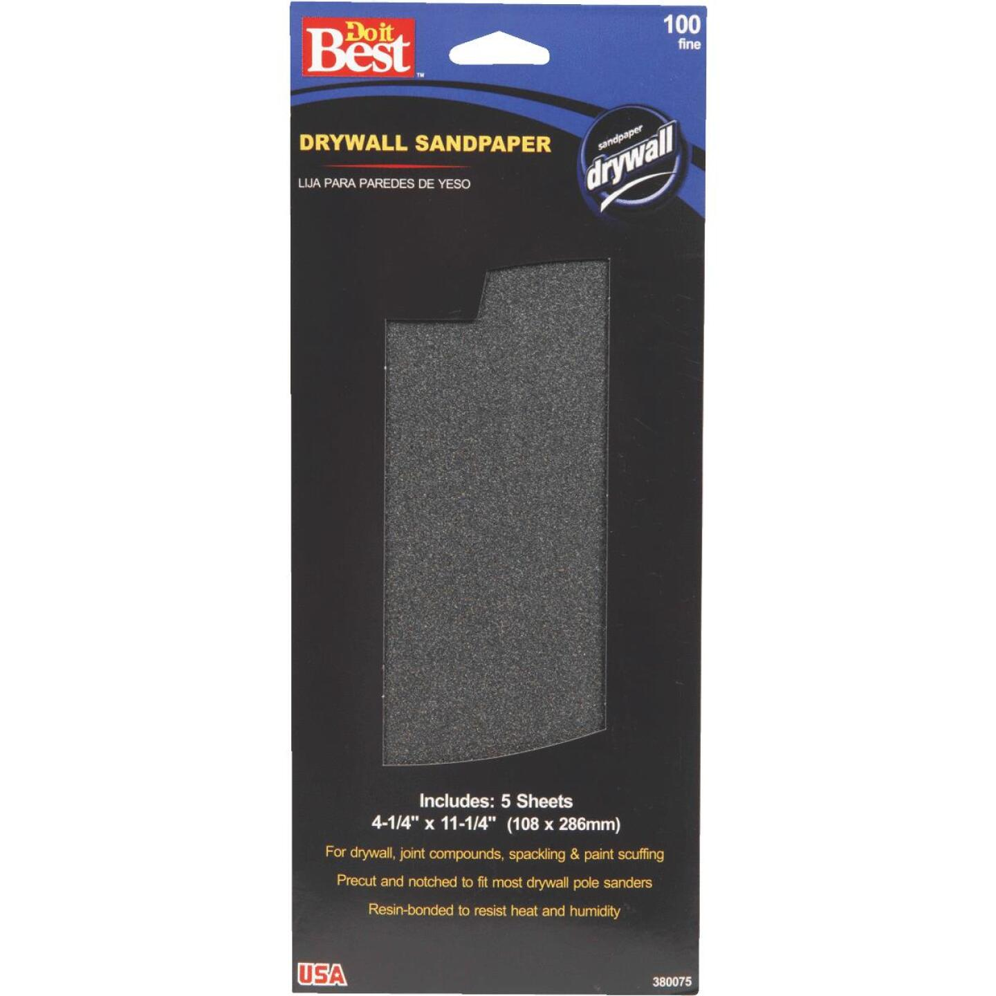 Do it Best 100 Grit 4-1/4 In. x 11-1/4 In. Drywall Sandpaper (5-Pack) Image 1
