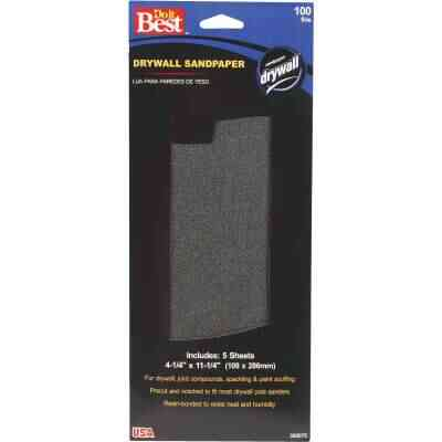 Do it Best 100 Grit 4-1/4 In. x 11-1/4 In. Drywall Sandpaper (5-Pack)