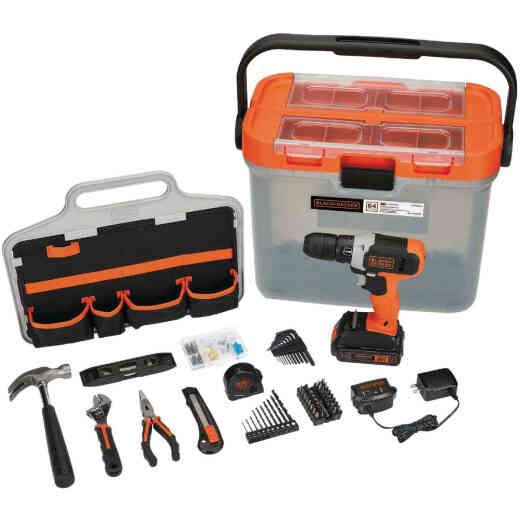 Black & Decker 20V MAX Lithium-Ion Cordless Drill/Driver & 63-Piece Hand Tool & Accessory Home Project Kit