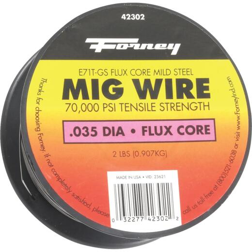 Forney E71T-GS 0.035 In. Flux Core Mild Steel Mig Wire, 2 Lb.