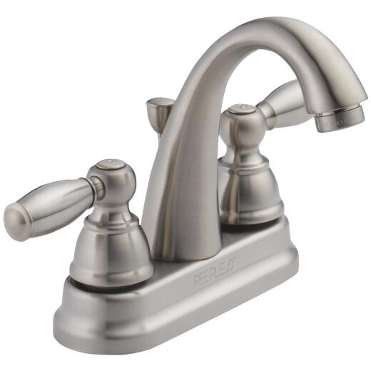 Peerless Brushed Nickel 2-Handle Lever 4 In. Centerset High Arc J Spout Bathroom Faucet with Pop-Up