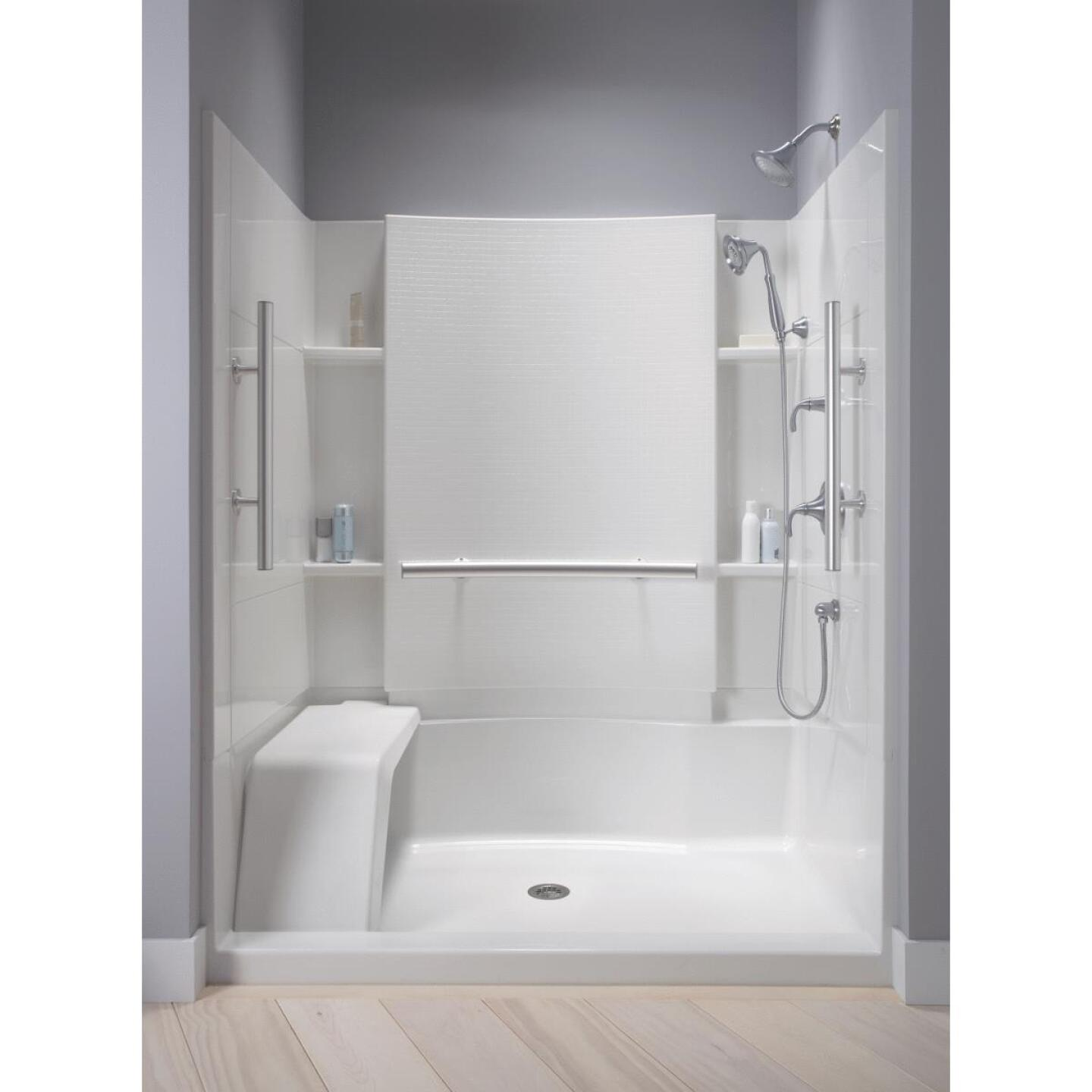 Sterling Accord 48 In. W x 36 In. D Center Drain Seated Shower Floor & Base in White Image 5