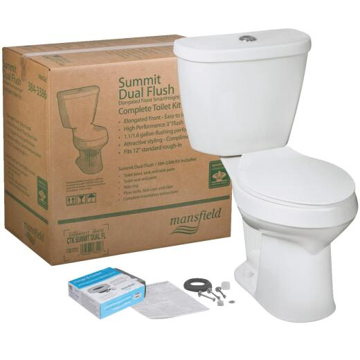 Mansfield Summit SmartHeight White Elongated Bowl 1.1 or 1.6 GPF Dual Flush Toilet Kit