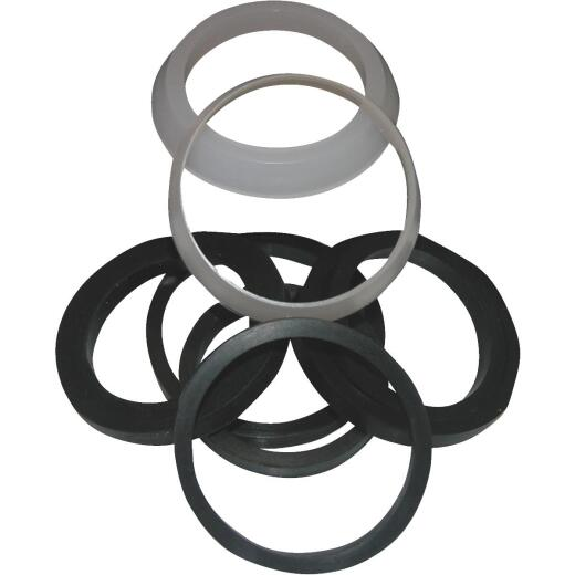 Lasco Assorted Sizes White & Black Plastic & Rubber Slip Joint Washer (8 Pack)
