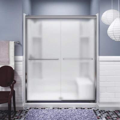 Sterling Finesse 59-5/8 In. W. X 70-1/16 In. H. Chrome Frameless Frosted Glass Sliding Shower Door