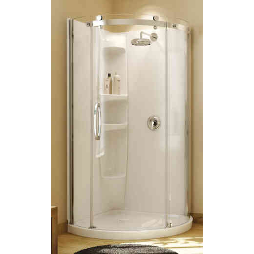 Maax Olympia 39 In. W x 71-3/4 In. H Chrome Framed Clear Glass Corner Shower Door w/Base