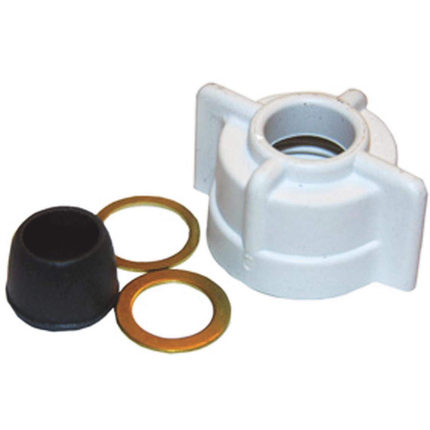Lasco 1/2 In. FPT x 3/8 In. OD Tube White Plastic Slip Joint Nut and Washer Image 1