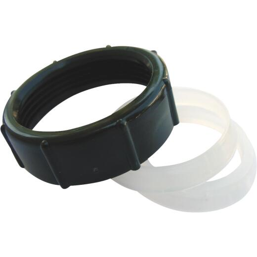 Lasco 1-1/2 In. x 1-1/4 In. Black Plastic Slip Joint Nut and Washer
