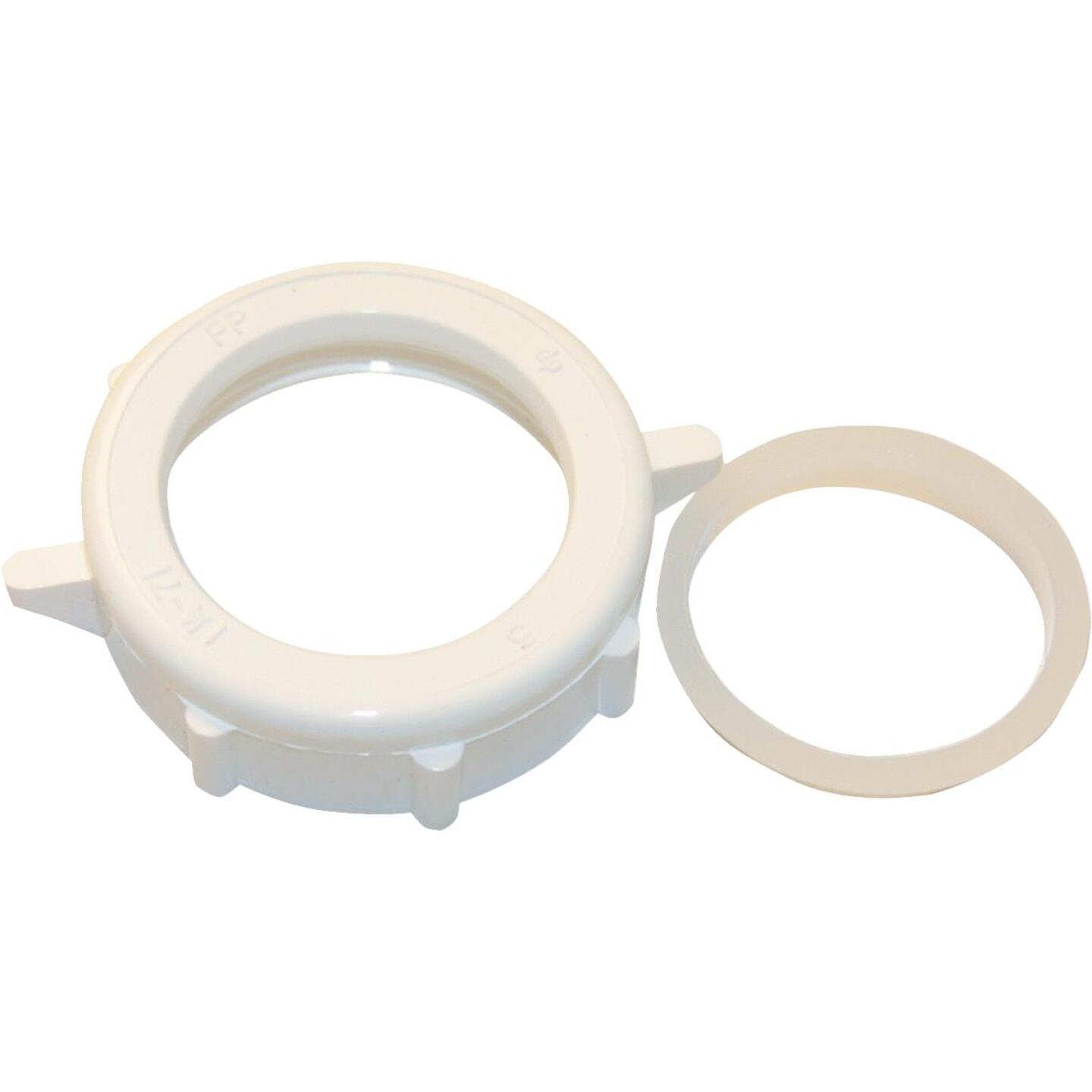 Lasco 1-1/4 In. x 1-1/4 In. White Plastic Slip Joint Nut and Washer Image 1