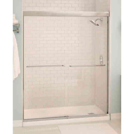 Maax Aura 59.5 In. W. X 71 In. H. Chrome Frameless Clear Glass Sliding Shower Door