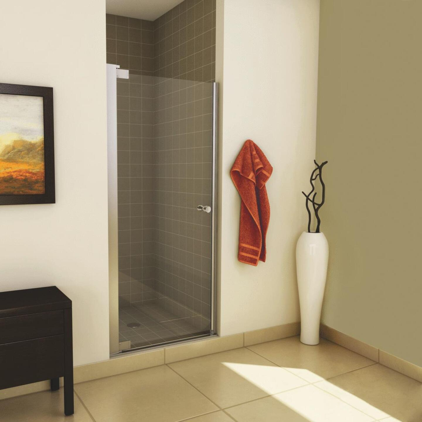Maax Madono 36.5 In. W. X 67 In. H. Chrome Clear Glass Pivot Shower Door Image 2